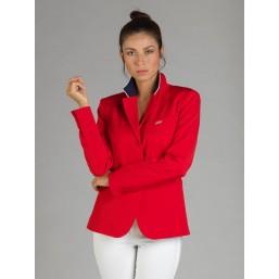 Naska Lady - Veste de concours équestre - Modèle femme - couleur Rouge à col Marine