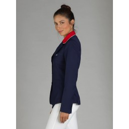 Naska Lady - Equestrian show jacket for Women - Color navy with red collar