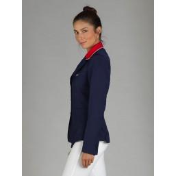 Naska Lady - Veste de concours équestre - Modèle femme - couleur Marine à col rouge