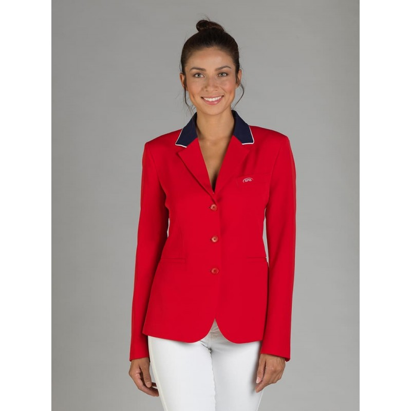 Naska Lady - Equestrian show jacket - For woman - Color Red with navy collar