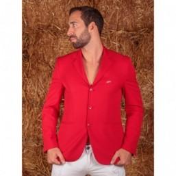 Naska Men - Veste de concours équestre - Modèle Homme - couleur rouge à col marine